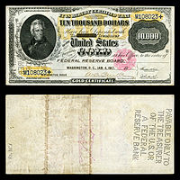 $10,000 Gold Certificate, Series 1900, Fr.1225, depicting Andrew Jackson