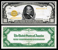 $1,000 Gold Certificate, Series 1928, Fr.2408, depicting Grover Cleveland