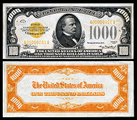 $1,000 Gold Certificate, Series 1934, Fr.2409, depicting Grover Cleveland.