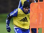 Chelsea FC via Press Association Images MINIMUM FEE 40GBP PER IMAGE - CONTACT PRESS ASSOCIATION IMAGES FOR FURTHER INFORMATION. Chelsea's Diego Costa during a training session at the Cobham Training Ground on 1st December 2015 in Cobham, England.