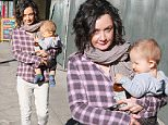Sara Gilbert and her infant son Rhodes have lunch at Real Food Daily in Los Angeles on December 1, 2015. X17online.com
