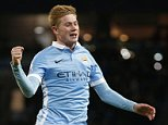 """Football Soccer - Manchester City v Hull City - Capital One Cup Quarter Final - Etihad Stadium - 1/12/15  Kevin De Bruyne celebrates scoring the fourth goal for Manchester City  Reuters / Phil Noble  Livepic  EDITORIAL USE ONLY. No use with unauthorized audio, video, data, fixture lists, club/league logos or """"live"""" services. Online in-match use limited to 45 images, no video emulation. No use in betting, games or single club/league/player publications.  Please contact your account representative for further details."""