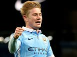 """Manchester City's Kevin De Bruyne celebrates scoring his side's fourth goal of the game during the Capital One Cup, Quarter Final at the Etihad Stadium, Manchester. PRESS ASSOCIATION Photo. Picture date: Tuesday December 1, 2015. See PA story SOCCER Man City. Photo credit should read: Martin Rickett/PA Wire. RESTRICTIONS: EDITORIAL USE ONLY No use with unauthorised audio, video, data, fixture lists, club/league logos or """"live"""" services. Online in-match use limited to 75 images, no video emulation. No use in betting, games or single club/league/player publications."""