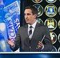 Television programmes: Monday Night Football - 08/08/13 L-R: Ed Chamberlin, Jamie Carragaher, Gary Neville Chris Lobina for Sky Sports