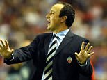 28 Oct 2001:  Rafael Benitez coach of Valencia gives orders from the sidelines during the Spanish Primera Liga match played between Sevilla and Valencia played at Ramon Sanchez Pizjuan stadium in Seville. DIGITAL IMAGE. Mandatory Credit: Firo Foto/ALLSPORT