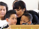 Widow of Jonah Lomu, Nadene Lomu and her two sons, Brayley Lomu (L) and Dhyreille Lomu (R) at the Funeral Service for Jonah Lomu at The Church of Jesus Christ of Latter-Day Saints on December 01, 2015 in Auckland, New Zealand. Ex-Rugby and All Black Player Jonah Lomu died on the 18th of November 2015 at the age of 40. AFP PHOTO / Michael BradleyMICHAEL BRADLEY/AFP/Getty Images