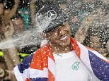 Great Britain's Lewis Hamilton of Mercedes GP celebrates with his team after winning the World Championship after the Abu Dhabi Formula One Grand Prix at Yas Marina Circuit on November 23, 2014 in Abu Dhabi, United Arab Emirates.    ABU DHABI, UNITED ARAB EMIRATES - NOVEMBER 23. (Photo by Clive Mason/Getty Images)