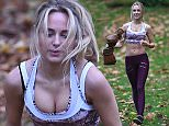 Kimberley Garner is seen with her personal trainer shaping up in hyde park london.