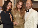 "LAS VEGAS, NV - DECEMBER 02:  Singer Alicia Keys, model Chrissy Teigen and singer John Legend pose backstage during ""Sinatra 100: An All-Star GRAMMY Concert"" celebrating the late Frank Sinatra's 100th birthday at the Encore Theater at Wynn Las Vegas on December 2, 2015 in Las Vegas, Nevada. The show will air on CBS on December 6.  (Photo by Lester Cohen/WireImage)"