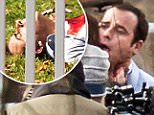 EXCLUSIVE: Justin Theroux appears to have been stabbed in the neck with a cork opener while filming dramatic scenes with Emily Blunt for 'The Girl on the Train' in White Plains, New York.\n\nPictured: Justin Theroux\nRef: SPL1186784  031215   EXCLUSIVE\nPicture by: Allan Bregg/Splash News\n\nSplash News and Pictures\nLos Angeles: 310-821-2666\nNew York: 212-619-2666\nLondon: 870-934-2666\nphotodesk@splashnews.com\n