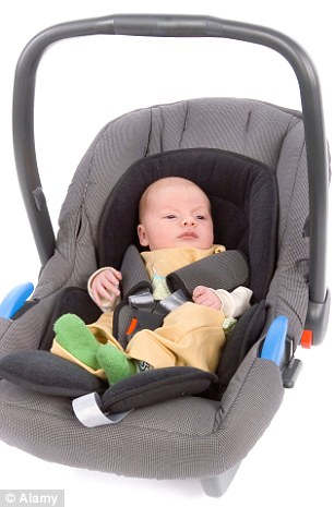 Risk: Children under two should not be left to sleep in car seats, as study finds dozens have died (stock)