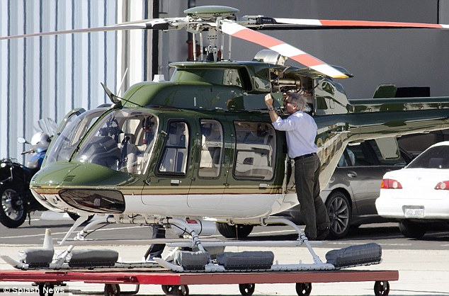 Not a weekend warrior: The Star Wars actor is an experience pilot so made sure to check out the 2013 Bell 407 himself before taking off
