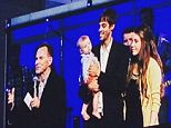 Members of the Duggar family attended a church service on Sunday where the pastor delivered a message saying 'pornography is a secret sin' (Jill and Derick Dillard and their son Israel are pictured during the church service on Sunday as they were brought on stage for prayer)