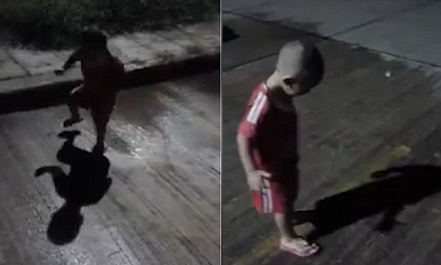 Boy screams and runs around in circles while trying to escape his SHADOW