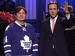 "Ryan Gosling hosts and Leon Bridges performs as musical guest.  Cast: Vanessa Bayer, Aidy Bryant, Michael Che, Pete Davidson, Taran Killam, Kate McKinnon, Bobby Moynihan, Jay Pharoah, Kenan Thompson, and Cecily Strong; featuring Beck Bennett, Colin Jost, Kyle Mooney, and Sasheer Zamata. Photograph:© NBC, ""Disclaimer: CM does not claim any Copyright or License in the attached material. Any downloading fees charged by CM are for its services only, and do not, nor are they intended to convey to the user any Copyright or License in the material. By publishing this material, The Daily Mail expressly agrees to indemnify and to hold CM harmless from any claims, demands or causes of action arising out of or connected in any way with user's publication of the material."""