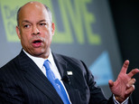 """Secretary of Homeland Security Jeh Johnson speaks at a Defense One """"leadership briefing"""" in Washington, Monday, Dec. 7, 2015, on the agency's efforts to tackle growing terrorism threats in the U.S. and abroad. (AP Photo/Andrew Harnik)"""