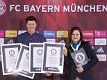 Mandatory Credit: Photo by Action Press/REX Shutterstock (5455167a)  Robert Lewandowski and Guinness World Records adjudicator Seyda Subasi Gemici  Bayern Munich footballer Robert Lewandowski secures four Guinness World Records, Munich, Germany - 30 Nov 2015  Footballer Robert Lewandowski has been handed four Guinness World Record certificates today in recognition of his nine-minute, five-goal haul for Bayern Munich against Wolfsburg earlier this season. Lewandowski scored five goals during the league encounter in September and broke a series of records: Fastest Bundesliga hat-trick (3 minutes 22 seconds), Fastest Four Goals in a Bundesliga Match (5 minutes 42 seconds), Fastest Five Goals Scored in a Bundesliga Match (8 minutes 59 seconds) and Most Goals Scored by a Substitute in a Bundesliga Match (5 goals).
