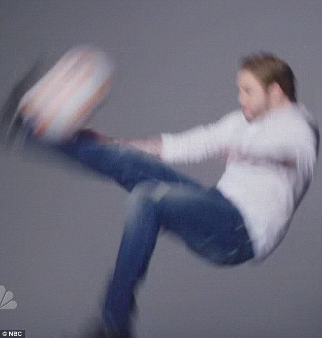 Watch that metatarsal: David Beckham decided to overhead kick new droid BB-8