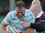 Jamie Roberts has taken a short break from professional rugby to study for a masters degree in medical science at Cambridge University and is playing for the University rugby team. During the game against Steele-Bodger, at Cambridge University RFC.