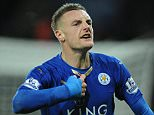 Jamie Vardy scores to make it 1-0 breaking the premier league record of scoring in consecutive games. Football Leicester City v Manchester United. Picture Graham Chadwick,