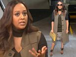 """NEW YORK, NY - DECEMBER 04:  Actress Tia Mowry is seen outside """"Huff Post Live"""" on December 4, 2015 in New York City.  (Photo by Raymond Hall/GC Images)"""