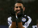 Leicester City's Algerian midfielder Riyad Mahrez celebrates after scoring his third goal during the English Premier League football match between Swansea City and Leicester City at The Liberty Stadium in Swansea, south Wales on December 5, 2015.       AFP PHOTO / GEOFF CADDICK RESTRICTED TO EDITORIAL USE. No use with unauthorized audio, video, data, fixture lists, club/league logos or 'live' services. Online in-match use limited to 75 images, no video emulation. No use in betting, games or single club/league/player publications.GEOFF CADDICK/AFP/Getty Images