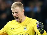 MANCHESTER, ENGLAND - DECEMBER 08:  Joe Hart of Manchester City celebrates after Raheem Sterling of Manchester City (not pictured) scores his side's third goal during the UEFA Champions League Group D match between Manchester City and Borussia Monchengladbach at Etihad Stadium on December 8, 2015 in Manchester, United Kingdom.  (Photo by Alex Livesey/Getty Images)