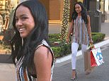 Karrueche Tran goes shopping at the Grove in Hollywood, CA.  Pictured: Karrueche Tran Ref: SPL1192493  081215   Picture by: Be Like Water Production   Splash News and Pictures Los Angeles: 310-821-2666 New York: 212-619-2666 London: 870-934-2666 photodesk@splashnews.com