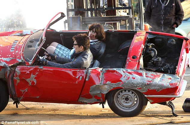 Fender bender:Ben Stiller was spotted on set in New York on Saturday filming an outrageous car crash scene for Zoolander 2