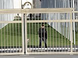 epa05063398 An UN security officer guards the area of the European headquarters of the United Nations due to a high level of alert, in Geneva, Switzerland, 10 December 2015. Police in Switzerland are hunting for four terror suspects, according to reports. Police believe the men are linked to the Paris attacks in November 2015.  EPA/SALVATORE DI NOLFI