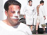 Picture Shows: Ben Affleck  December 08, 2015   Actor Ben Affleck is spotted on the set of his new movie 'Live By Night' looking beaten and bruised in Los Angeles, California.     Ben, who was also sporting a large tattoo on his back, was seen enjoying a cigarette outside of his trailer between takes.    ** Min Web / Online Fee £400 For Set **      Exclusive All Rounder  UK RIGHTS ONLY  Pictures by : FameFlynet UK © 2015  Tel : +44 (0)20 3551 5049  Email : info@fameflynet.uk.com