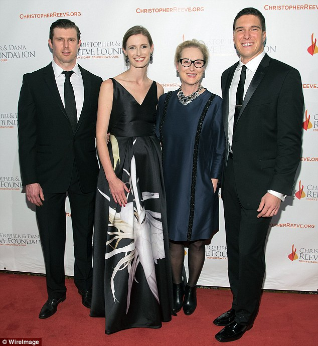 Family affair: Christopher Reeve's children (from left) Matthew and Alexandra, from his relationshipw ith Gae Exton, and Will, from his marriage to Dana, posed with Streep, whose son Henry is the same age as Will