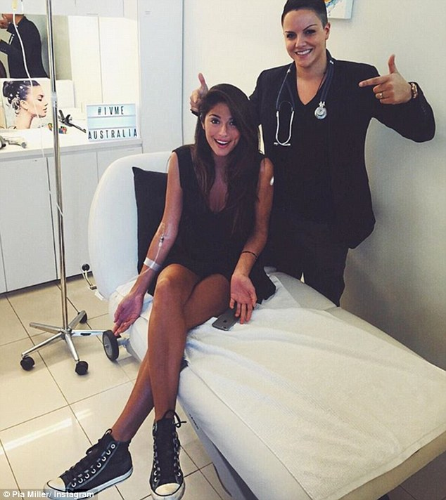 Energy boost: Home And Away actress Pia Miller (left) shared a shot of herself on Instagram on Sunday as she got an energy boost, hooked up to a vitamin IV drip from clinician and friendShadi Kazeme (right)