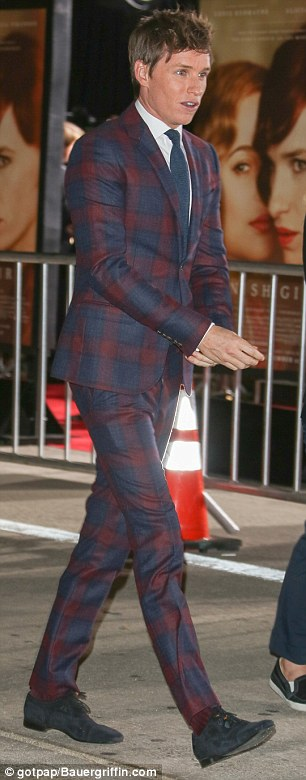 Dapper chap: Eddie looked every-inch the stylish young star in his maroon and navy checked suit
