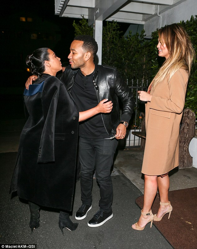 Good to see you!She was seen giving Teigen's husband John Legend a peck goodnight before jumping into the back of a car with her own significant other Kanye