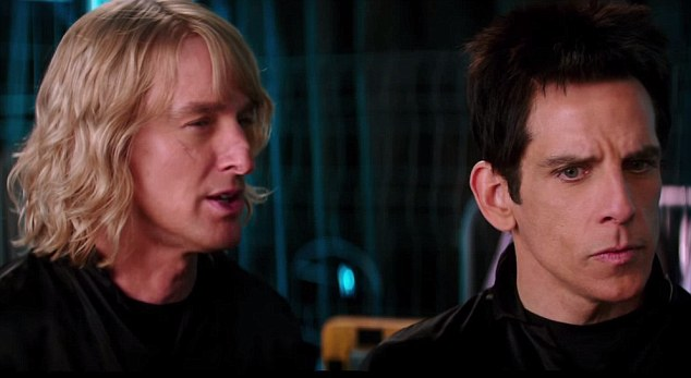 In the trailer Stiller's Derek Zoolander (right) asks Alli 'Are you a male model or a female model?' and Wilson's character Hansel (left) inquires if All has 'a hot dog or a bun'