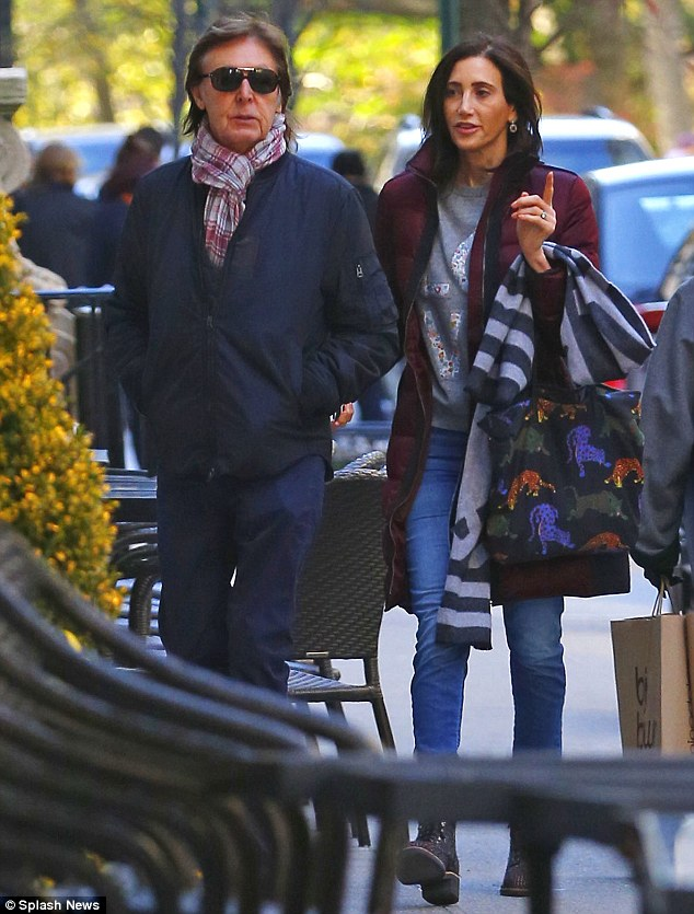 Day Tripper: On Saturday Sir Paul McCartney took a leaf out of his old song-writing notes when he and wife Nancy Shevell were seen enjoying a romantic Autumnal stroll in New York