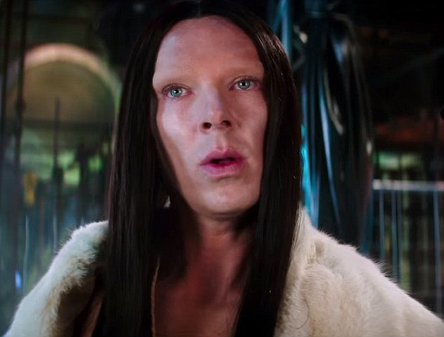 Critics are calling Cumberbatch's character 'All' (pictured), a 'cartoonish mockery' of transgender, androgyne and non-binary individuals and 'the modern equivalent of blackface'