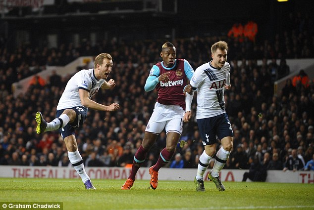 Harry Kane fires Tottenham into the lead, smashing the ball home from close range in the 23rd minute