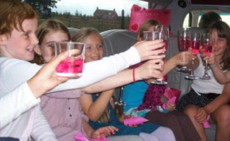 A toast with pink pop: The Pretty Girl Parties website show these youngsters in a stretch limousine