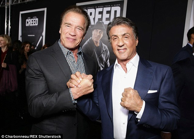 Action star buddies: Also at the Creed premiere was his longtime friend Arnold Schwarzenegger