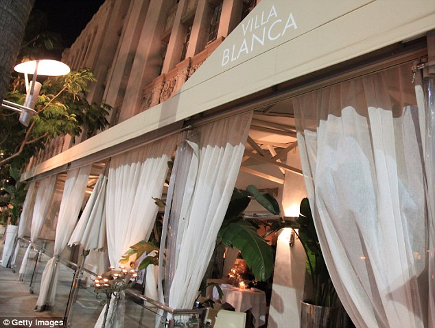 Upscale eatery: Villa Blanca sits right off Rodeo Drive and lives up to its name with all-white furnishings and decor