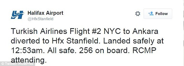 A Twitter account for the airport said 256 passengers had been on Flight 2