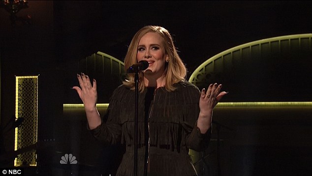 'Killing it!' One fan wrote: 'Adele is killin it on SNL right now [sic]' while one added '@Adele could sing a grocery list. @nbcsnl'