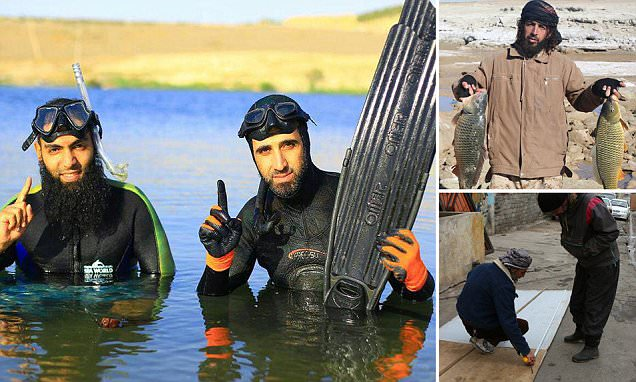 Bizarre ISIS pictures show jihadis diving, boat building and FISHING
