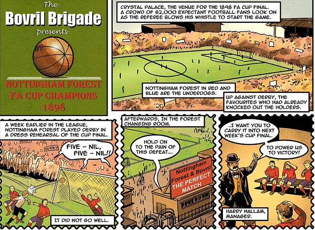Nottingham Forest's FA Cup triumph in 1898 commemorated in comic strip form as the Bovril