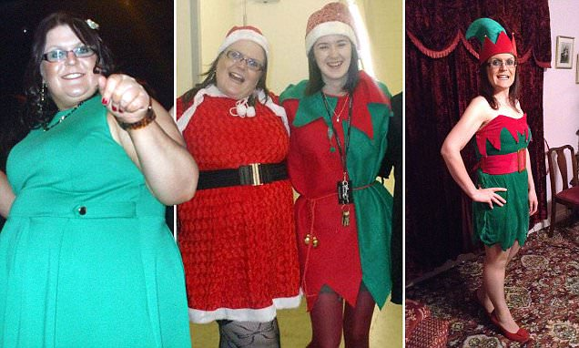 Size 26 woman who became too fat to fit into her Santa costume sheds 9 STONE
