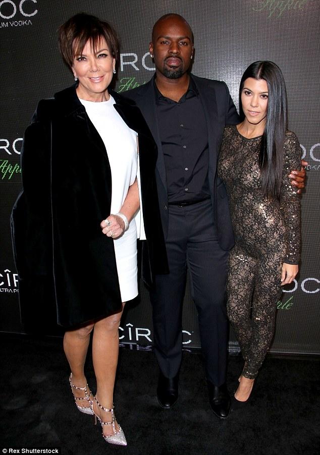 Momager:Kris Jenner, 60, stunned on the black carpet alongside Corey and her eldest daughter