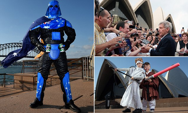 Star Wars fans celebrate The Force Awakens release with Harrison Ford in Sydney
