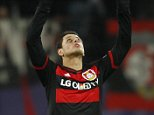 Football Soccer - Bayer Leverkusen v FC Barcelona - UEFA Champions League Group Stage - Group E - BayArena, Leverkusen, Germany - 09/12/15 Bayer Leverkusen's Javier Hernandez celebrates after scoring a goal. REUTERS/Ina Fassbender